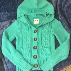 Girls teal blue cable knit sweater Sz 10